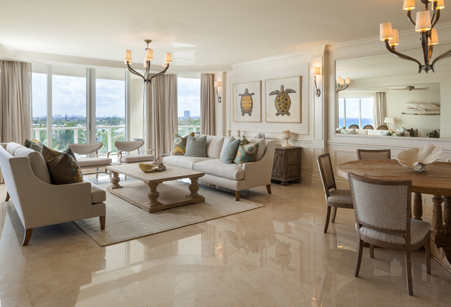 Beach Style Open Concept Marble Floor And Beige Floor Living Room Idea In  Miami With White Part 87