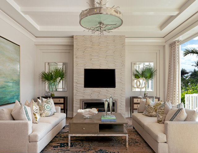 Coastal Contemporary - Beach Style - Living Room - Miami - by ...
