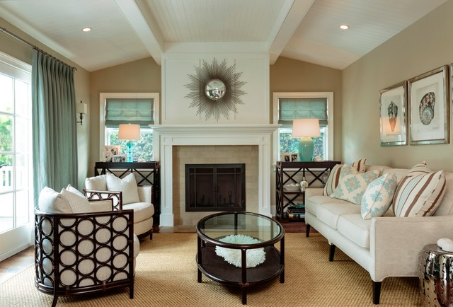 Coastal Formal Living Room Photo In Los Angeles With Beige Walls And A Standard Fireplace