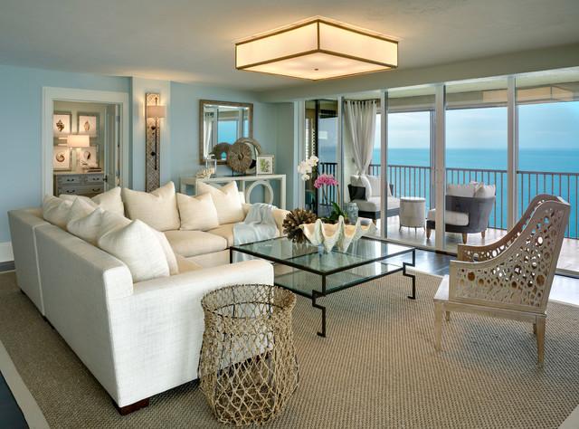 Coastal Cottage Condo Beach Style Living Room Miami