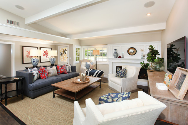 Coastal Family Renovation Beach Style Living Room