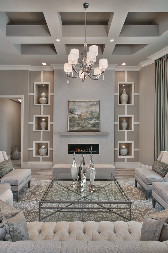 Transitional formal living room photo in Miami with gray walls and a ribbon fireplace