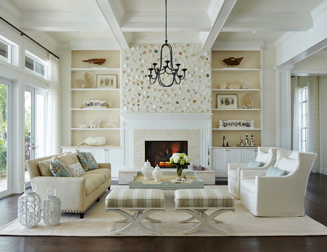 mantel decorating ideas with high ceilings - Coastal Living Beach Style Living Room Miami by