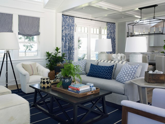example of a coastal open concept living room design in san diego - Coastal Living Room