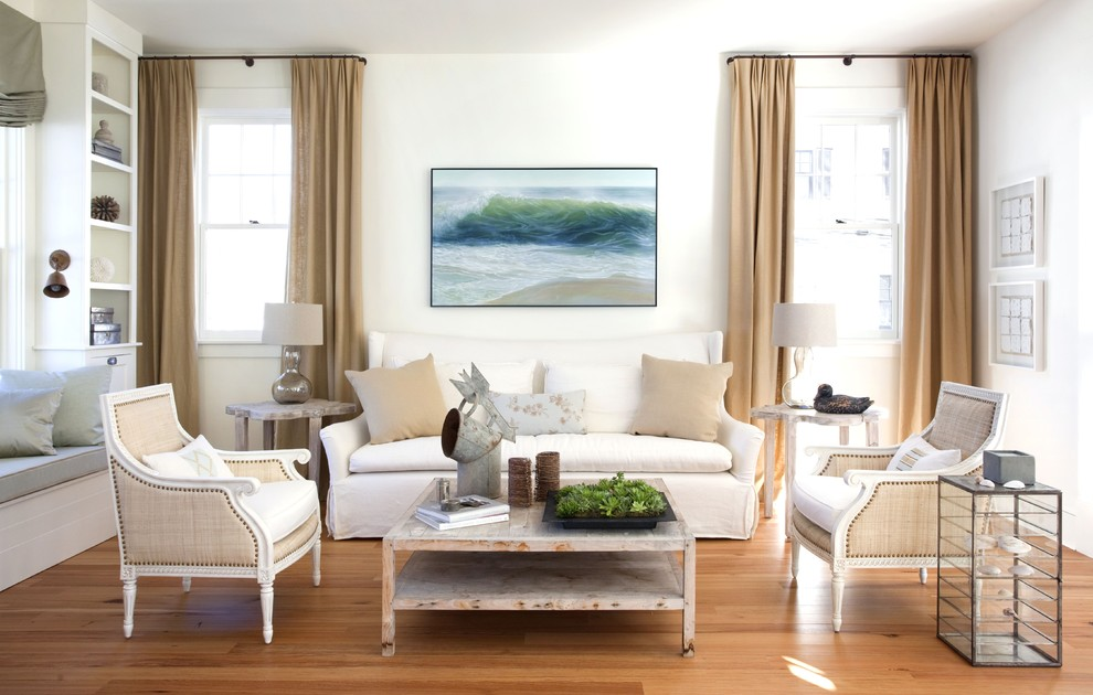 Inspiration for a mid-sized transitional living room remodel in Boston with white walls