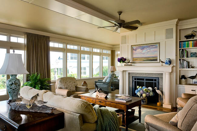 Coastal Maine Gambrel Style - beach style - living room - boston