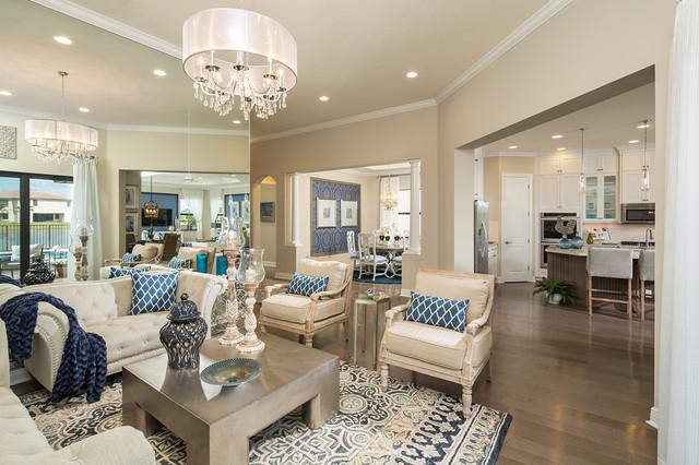 Transitional Living Room With Coastal Vibe And Blue: Coastal Modern