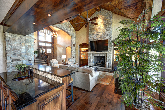 Coastal Transitional Style Custom Home Rustic Living