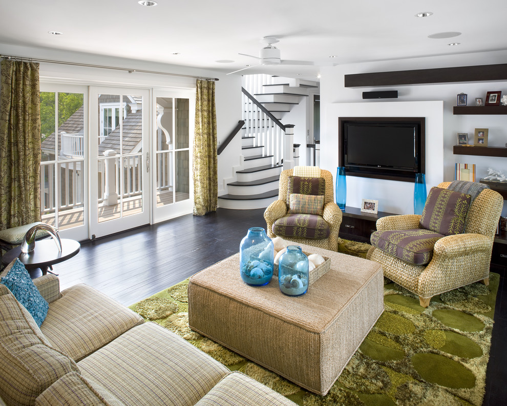 Beach style living room photo in Philadelphia with white walls