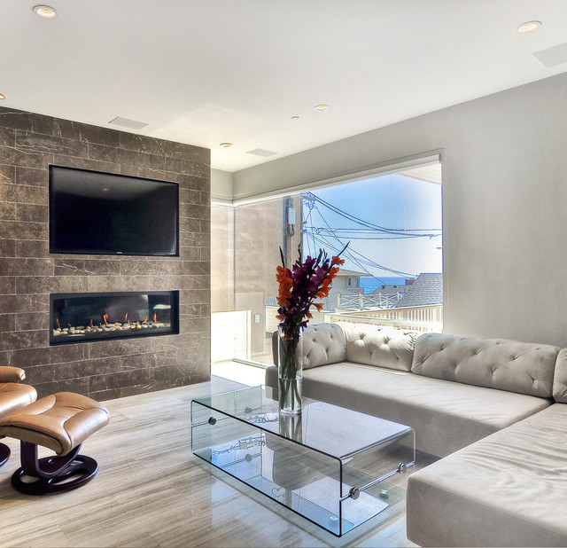 Coco Marble Fireplace, Haisa Light Marble Floor - Modern - Living Room - Los Angeles - by SOLI ...