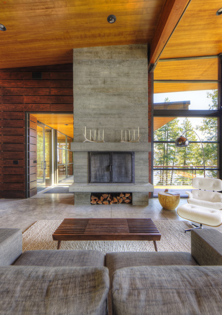 Coeur D'Alene Residence on Lake Coeur D'Alene modern-living-room