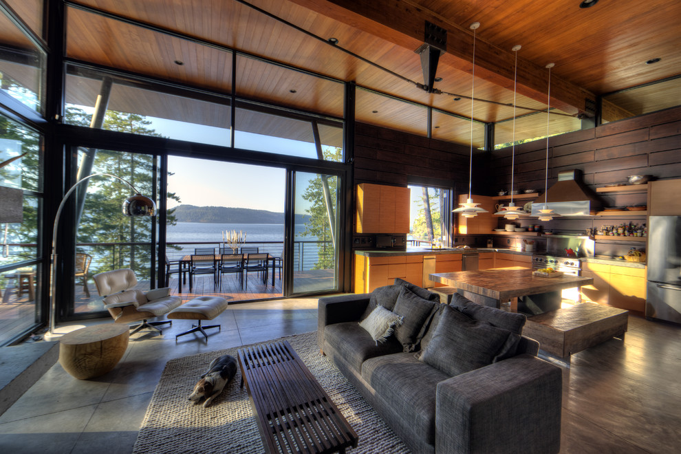 Mountain style open concept living room photo in Seattle with no tv
