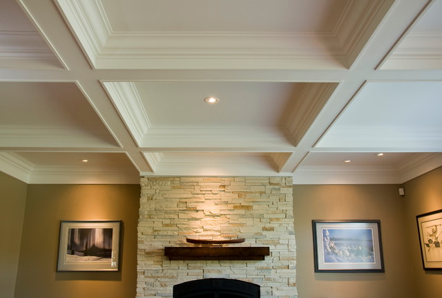Coffered Ceiling/Box Beam Mantle/Wainscoting traditional-living-room