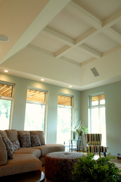 Coffered ceiling contemporary-living-room