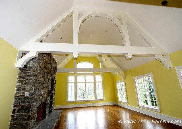 Coffered ceilings and beams traditional living room for Coffered cathedral ceiling