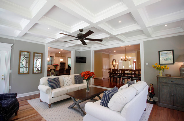 Coffered ceilings traditional living room new york for Living room with 9 foot ceilings