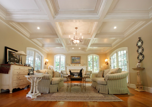 Coffered Ceilings Traditional Living Room New York