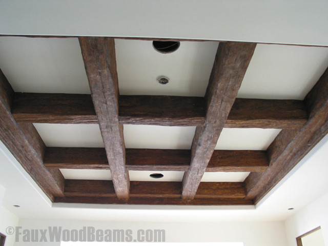 Coffered Faux Beam Ceiling Rustic Living Room New