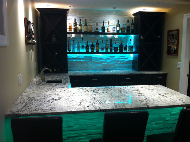 Cold Spring Granite Bar With LED Lighting Modern-living-room