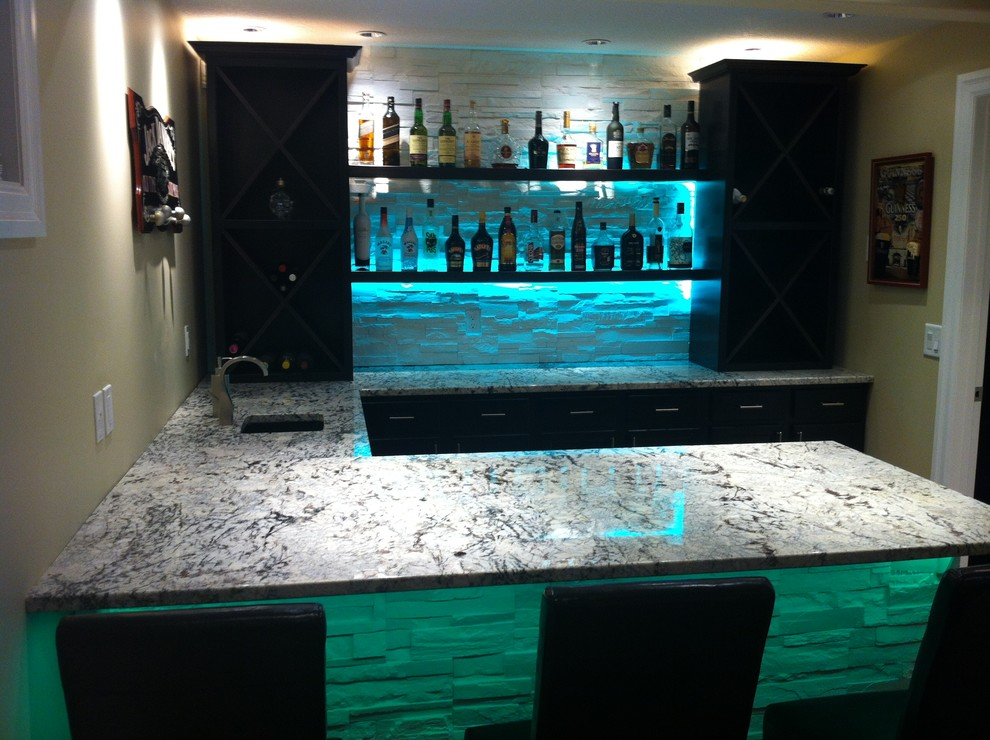 Cold Spring Granite Bar With Led Lighting Modern
