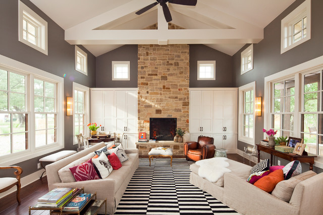 Storage Around Fireplace Houzz - Fireplace storage