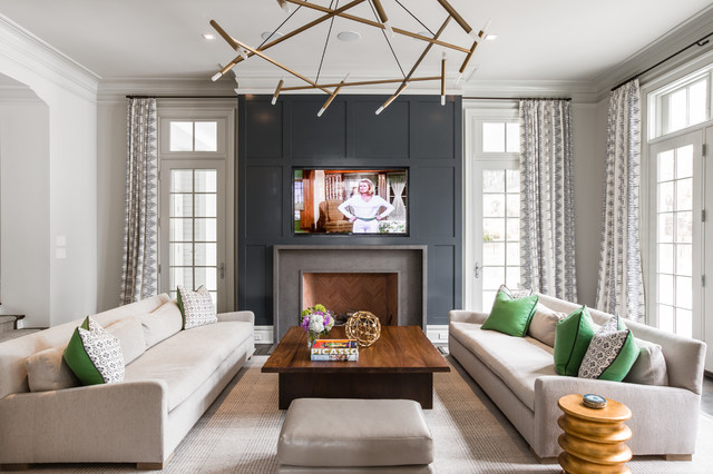 Colonial Revival Transitional Living Room New York