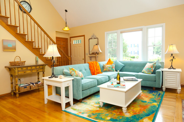 Color infused update of seaside cottage traditional for Beach cottage interior colors