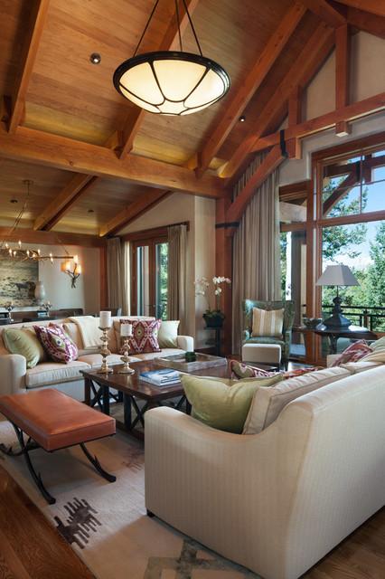 Colorado Ski House transitional-living-room