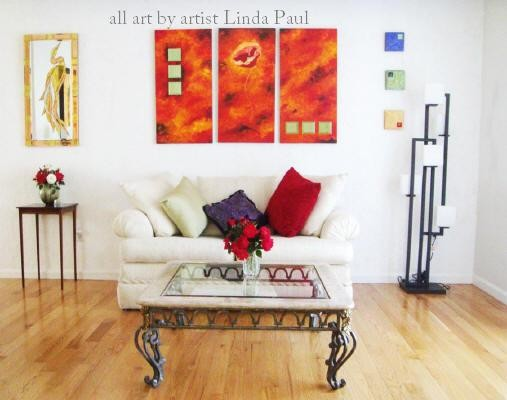 Modern Living Room Paintings : Contemporary Art in Small Living Room - Contemporary - Living Room ...