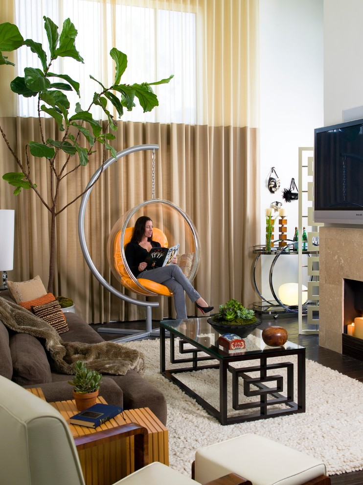 Inspiration for a contemporary bamboo floor living room remodel in Los Angeles with white walls
