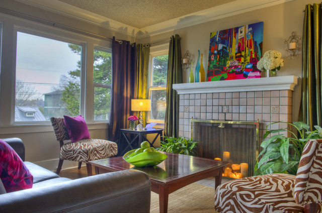 Colorful Seattle Residence Eclectic Living Room