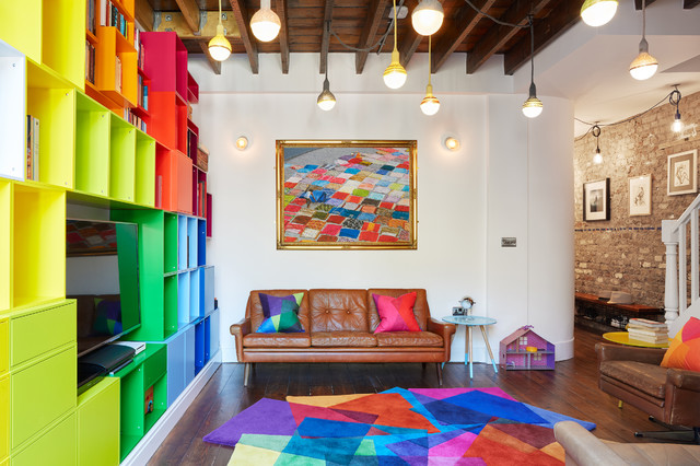Colourful Islington Family Home Eclectic Living Room