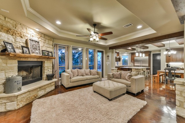 Living room - large traditional living room idea in Other