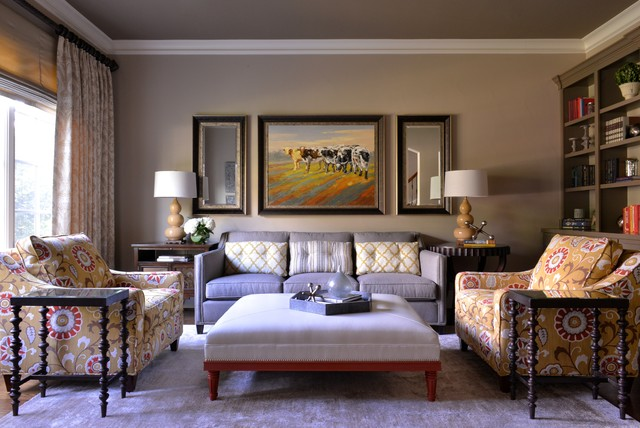 Comfortable Yet Elegant Family Room Library Transitional