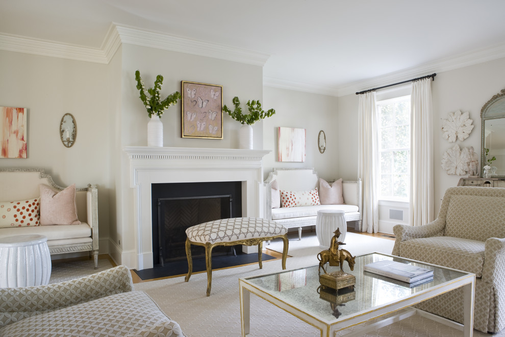 Elegant enclosed living room photo in DC Metro with white walls