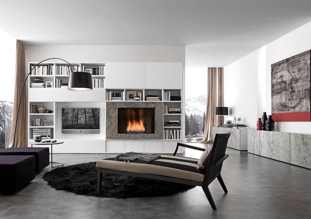 Comp. 328 Wall Unit with Fireplace by Presotto, Italy - Moderno ...
