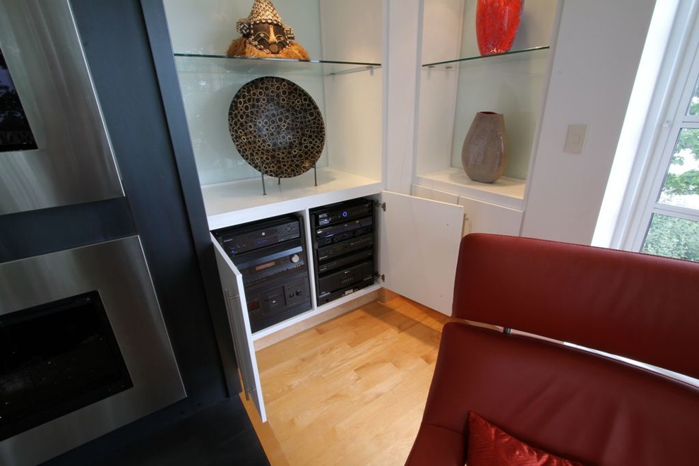Concealed Remote Audio Video Components For Tv Over Fireplace