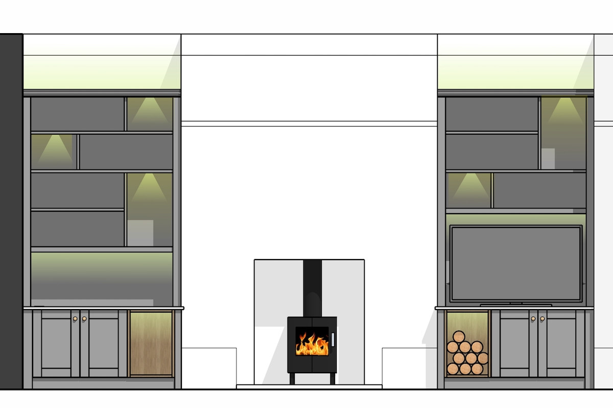 Concept Drawings for Grey Alcove Units With Lighting