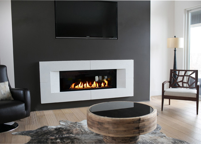 Concrete Fireplace Surroundscontemporary Living Room Toronto