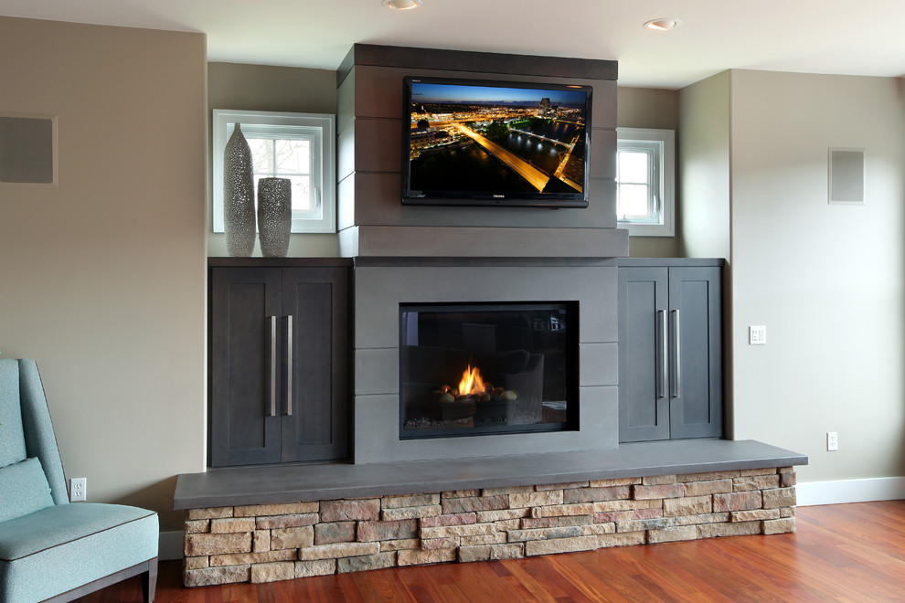 Concrete Fireplace Surrounds Contemporary Living Room Grand Rapids By Hard Topix Llc