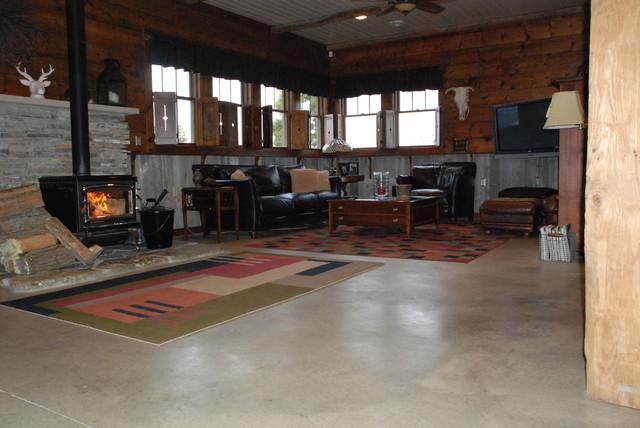 Concrete floor in home eclectic living room columbus for Concrete floor living room ideas