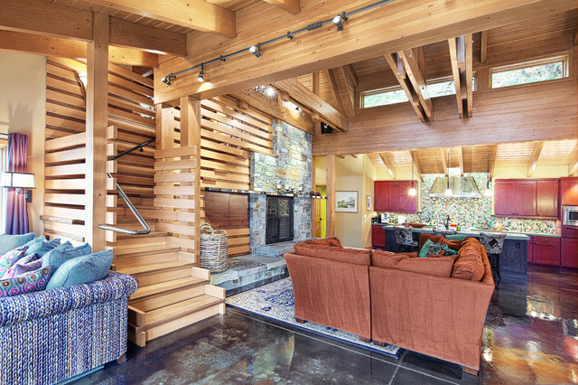 Concrete Floored Abode - a cabin on Lake Wenatchee contemporary-living-room