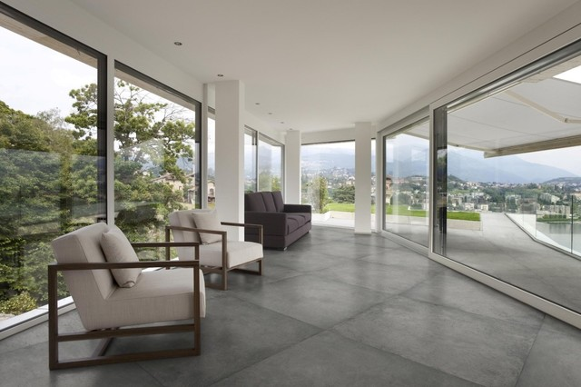 Concrete Look Porcelain Floor Tiles In Sydney Contemporary Living Room