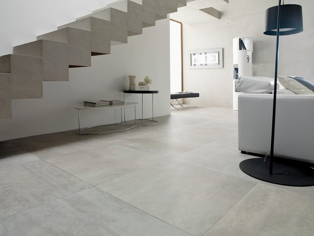 Concrete Look Tiles   Rodano Acero Industrial Living Room Part 76