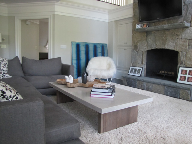Concrete Table Top Eclectic Living Room New York By Concrete Shop