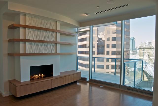 Condo Renovation Fireplace Wall