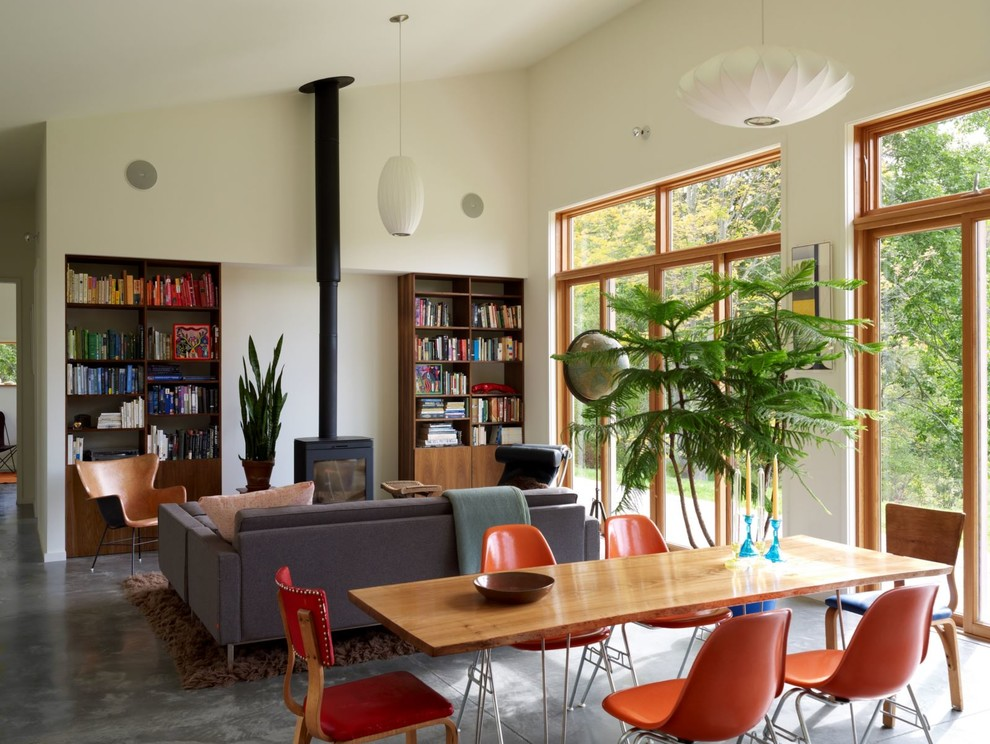 Inspiration for a modern living room library remodel in New York