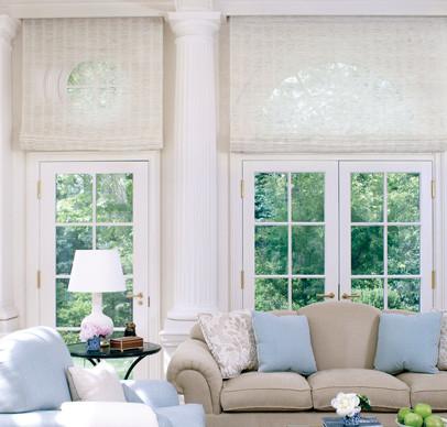 Conrad Custom Woven Roman Shades Traditional Living Room Boston By Back Bay Shutter Co Inc