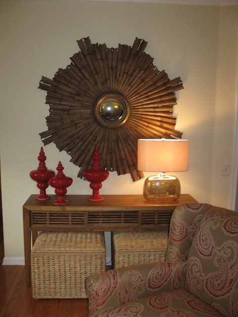 Console Table and Large Mirror Display asian-living-room