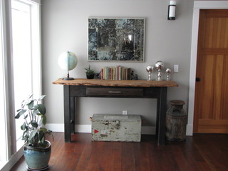 Console Table Mirror Vignette Eclectic Living Room Seattle by Taylored Interior Design Construction